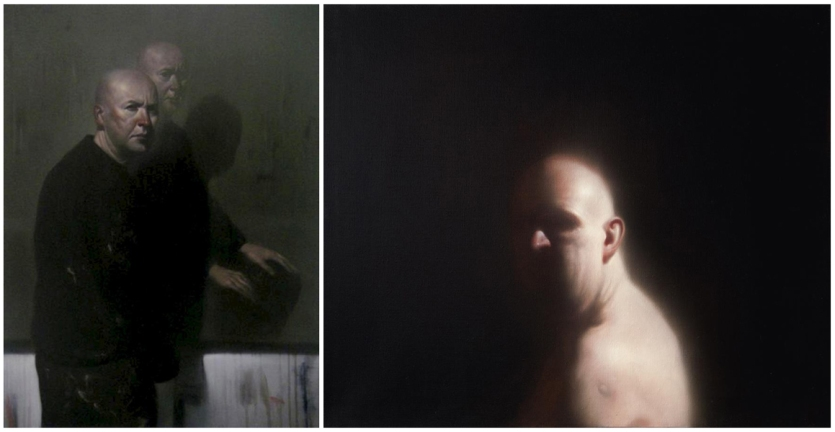 'Study - Self portrait with self portrait' (left) and 'Self Portrait' © Ken Currie / Flowers Gallery