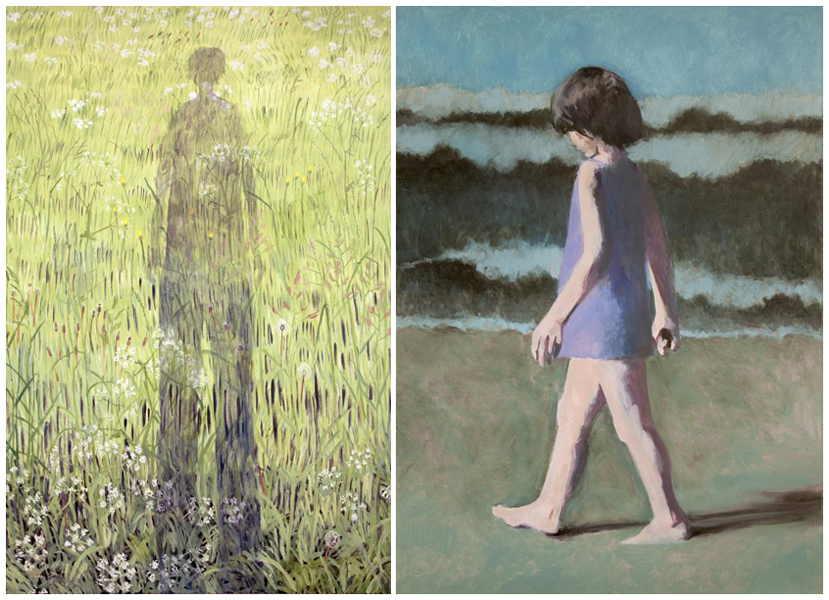 Jiro Osuga - 'Shadow 2013' (left) and Claerwen James 'Self portrait when young 2013' © Flowers Gallery